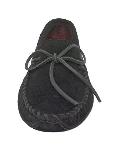Minnetonka Heren Dubbele Bodem Fleece Pantoffel Zwart