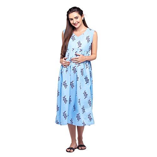 CHARISMOMIC Maternity Dress for Women | Ankle Length Pre and Post Pregnancy Dress | V-Neck Maternity Midi/Gown Dress | Linum Screen Print 100% Cotton Maternity Dress, Blue