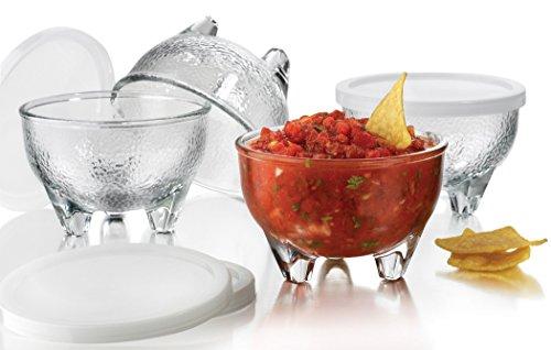 Libbey Salsa Set 4 Glass Bowls 10.8 oz & 4 Plastic Lids -