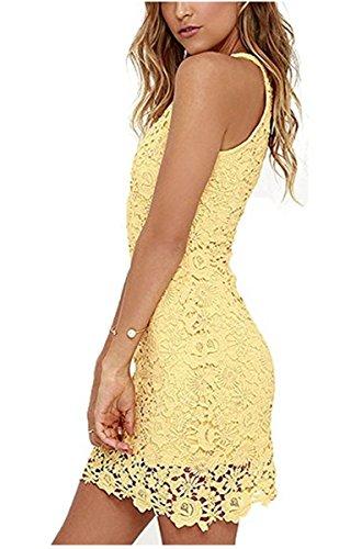 YOGLY Vestido de Encaje de Mujer Delgada Elegante Verano Vestido Mujer de Moda Vestidos Mini Amarillo