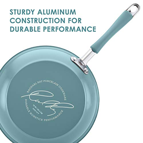 Rachael Ray Cucina Hard Porcelain Enamel Nonstick Skillet, Frying Pan Set, 9.25-Inch and 11-Inch, Agave Blue
