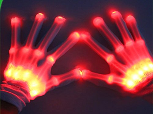 1 Pair LED Skeleton Gloves Red Flashing Light Up Glow Gloves Party Clubbing Rave Fancy Halloween Cosplay Costume Mittens for Adult Men Women by SamGreatWorld