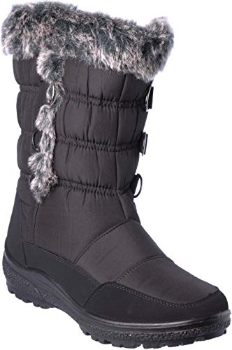 Good Adult Chill Cap - wolfsburg4 Women Winter Boots Mid-Cap Fur Lining Cold-Weather Black Shoes Size 9