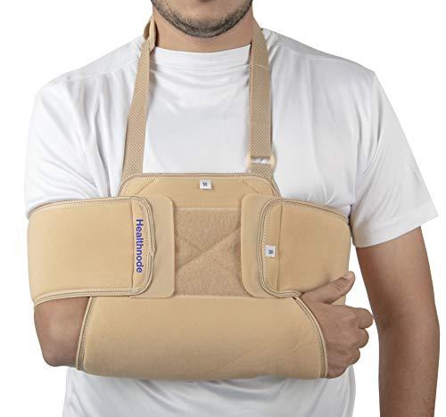 HealthnodeTM Arm Sling Shoulder Immobilizer - Can Be Used During Sleep - Rotator Cuff Support Brace - Adjustable Medical Sling for Broken & Fractured Bones/Dislocation/Sprains/Strains & Tears (Large)
