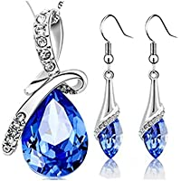 Warmu for Eternal Love Austrian Crystal Necklace Pendants for Women and Girls with a Pair of Crystal Earrings
