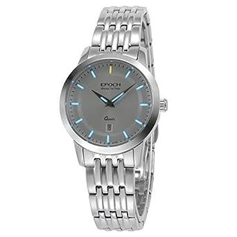 Epoch 6023L Armbanduhr fÜr Damen - wasserdicht bis 50 m - Tritiumgas - blau-leuchtend - Stahlarmband - weißes Zifferblatt
