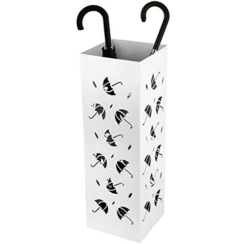 Amzdeal Umbrella Holder Umbrellas Stand Indoor Umbrella Rack for Office, Home, Free Stand for Canes, Walking Sticks, with 2 Hooks, Drip Tray, 100% Metal, Rustproof, White