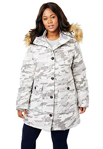 Woman Within Women's Plus Size The Arctic Parka - Grey Camo, L