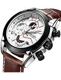 MEGIR Men Business Analogue Quartz Watch with Fashion Brown Leather Strap Chronograph Luminous Auto Calendar for Sport & Work
