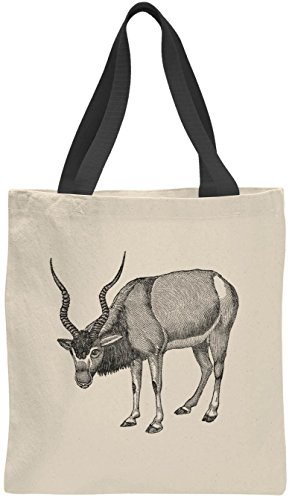 Austin Ink Apparel Antelope Drawing Cotton Color Handle Canvas Tote Bag (Black Handles)