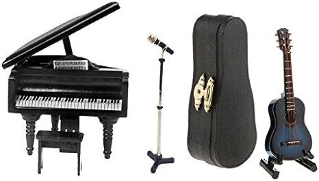 Homyl 1:12 Guitarra de Madera + Soporte + Caja de ... - Amazon.es