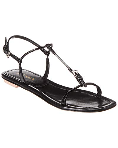 (Prada Buckle Leather Sandal, 38, Black)