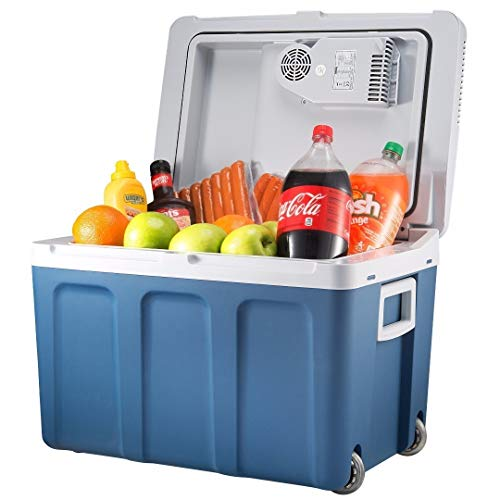 Knox Electric Cooler and Warmer for Car and Home with Wheels - 48 Quart (45 Liter) - Holds 60 Cans or 6 Two Liter Bottles and 15 Cans - Dual 110V AC House and 12V DC Vehicle Plugs (Best Vehicle For Traveling And Camping)