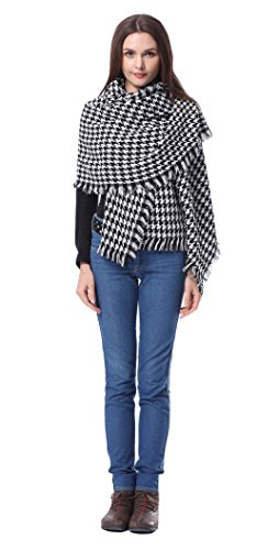 Houndstooth Wrap - Flesser Unisex Blanket Oversized Tartan Scarf Wrap Shawl Plaid Cozy Checked Pashmina