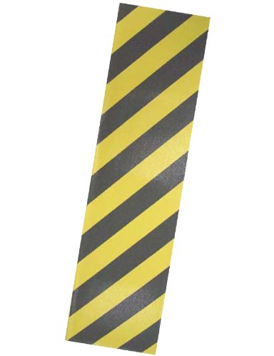 "PRO SKATEBOARD GRIP TAPE BLACK W/YELLOW STRIPE GRAPHIC 33""X9"
