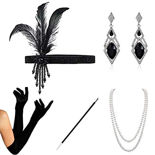 HAMIST 1920s Accessories Set Flapper Costume for Women Headband Gloves Cigarette Holder Necklace Bracelets (Black-P)]()