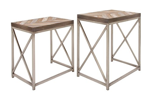 Deco 79 44455 Rectangular Metal and Wood Nesting Tables, 23