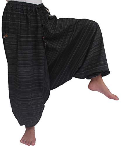 ChiangmaiThaiShop Plus sizes Mens Womens Yoga pants Boho Hippie Baggy Cotton Harem Pants with 2 Pockets (L-XXL for Waist for 34