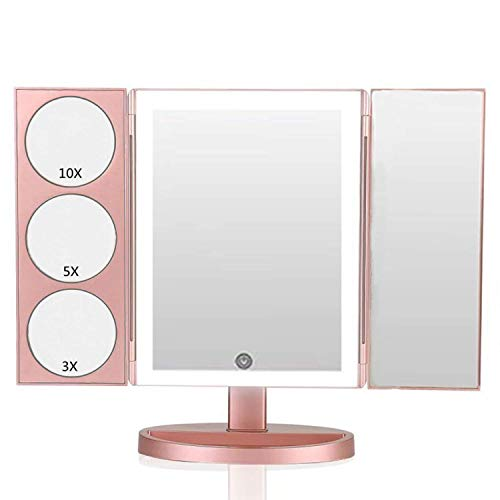 DeWEISN X - Large Makeup Mirror with 3X/5X/10X Magnification, 44 LEDs High Brightness Lights Vanity Makeup Mirror with Touch Screen, Dual Power Supply Tri-Fold Mirror (Rose Gold) (Touch Trifold Xl Dimmable Led Makeup Mirror)