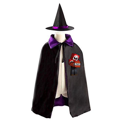Minecraft ExplodingTNT Logo Kids Hallowmas clothing Black Cloak and Cape with Hood for A cruel boy