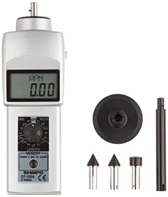 """Shimpo DT-105A Handheld Tachometer with 6"""" Wheel, LCD Display, 0.10 - 25000rpm Range"""