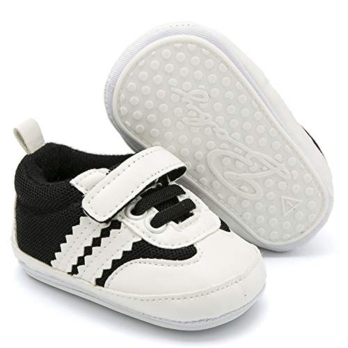 """BubbleColor Newborn Baby Walking Shoes PU Anti-Slip Rubber Sole Infant Toddler Boys Girls Casual Running Sneakers (M:6-12 Months/4.72"""", Black)"""