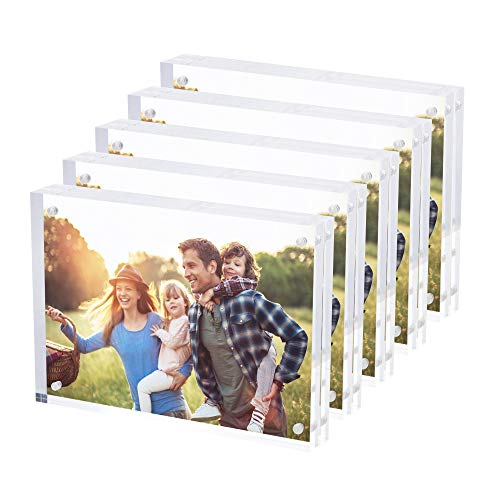 - SimbaLux Magnetic Acrylic Picture Photo Frame 5x7 inches (5 Pack), Clear Glass Like, Double Sided Frameless Desktop Floating Display, Free Standing, Easy Change, for Family, Postcards, 2.4cm Thick