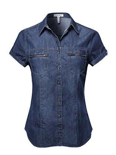 Top Shirt Denim (Women's Basic & Classic Button Down Roll Up Sleeve Chambray Denim Shirt Top (T01412 Dark Denim, Medium))