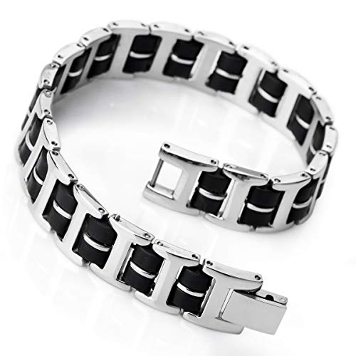 INBLUE Men's Stainless Steel Rubber Bracelet Link Wrist Silver Tone Black Rectangular