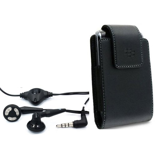 Blackberry OEM Leather Swivel Holster Pouch Case + Original Blackberry 3.5mm Stereo Handsfree Earbuds Headphones Headset with Microphone for Blackberry Bold 9900, 9930