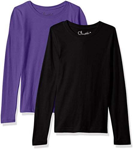 Clementine Girls' Big Everyday T-Shirts Long Sleeve Crew 2-Pack, Black/Purple, L
