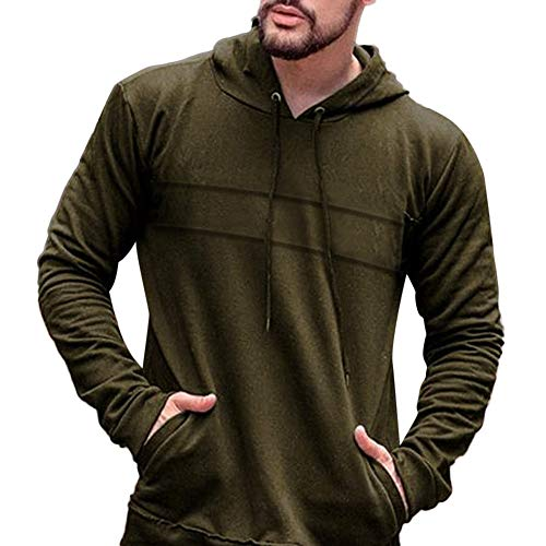 Price comparison product image Yuxikong Men's Long Sleeve Relaxed Fit Solid Hooded Pullover Hoodie Tops (Army Green,  XXL)