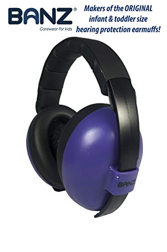 BANZ Earmuffs Infant Hearing Protection - Ages 0-2 Years - The Best Earmuffs for Babies & Toddlers - Industry Leading Noise Reduction Rating - Block Noise (Dark Purple)
