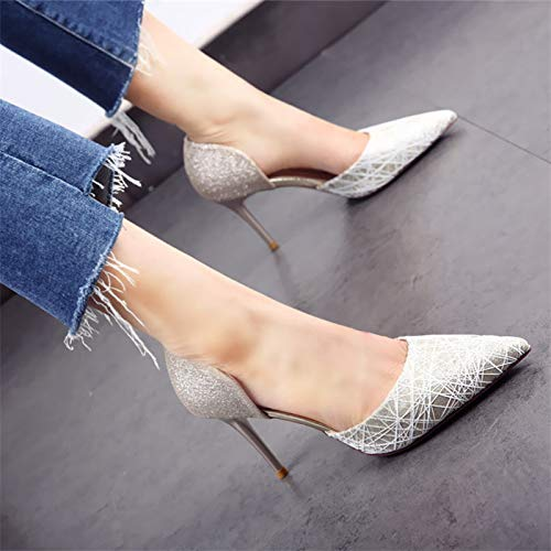 autunno pizzo e YMFIE respiro Gold sexy sposa ricamo da stiletto Primavera da scarpe temperamento superficiale scarpe punta tacchi scarpe alti singole hollow sposa wqgqXxE4