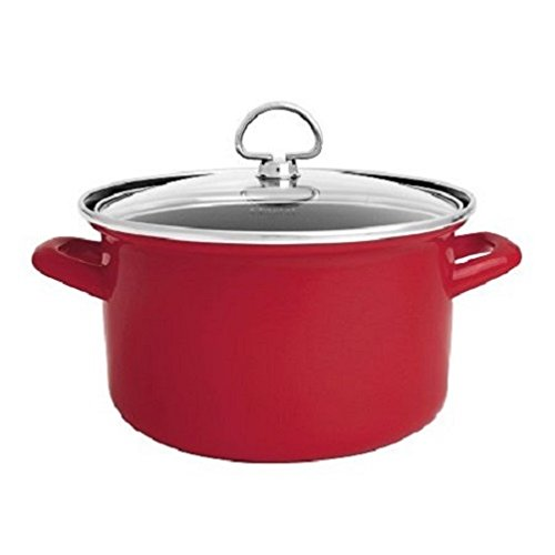 - Chantal Enamel-On-Steel 4-Quart Soup Pot with Tempered Glass Lid, Chili Red