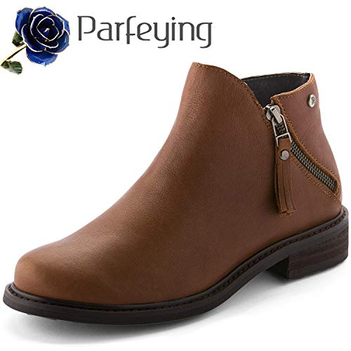 Parfeying Ankle Boots, Waterproof Booties, Non-Slip Rubber Sole, Casual Shoes, Pig Leather Lining (L10130, Saddle Brown, US 9)