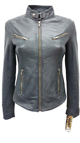 SPEED Ladies Grey Wax Designer Cool Retro Biker Style Motorcycle Leather Jacket (US 8/UK 12) by Smart Range