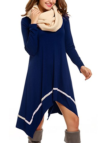 Casual Dress for Women, Meaneor Womens Long Sleeve Casual Irregular Hem Loose Tunic Shirt Dress-Christmas Gift For Her(Navy Blue,L)