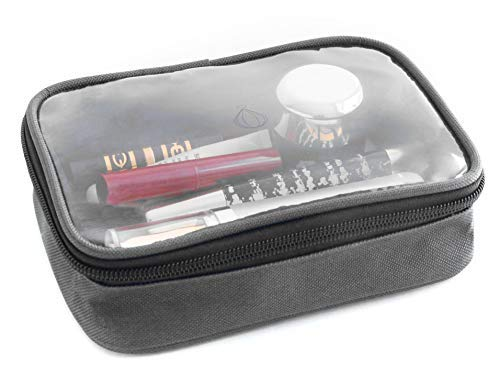 Wanderwind Premium TSA Approved Clear Durable Toiletry Bag for Domestic/International Travel | Quart Size for 3-1-1 Compliant Toiletries/Cosmetics/Accessories in Carry-On Luggage (Light Gray)