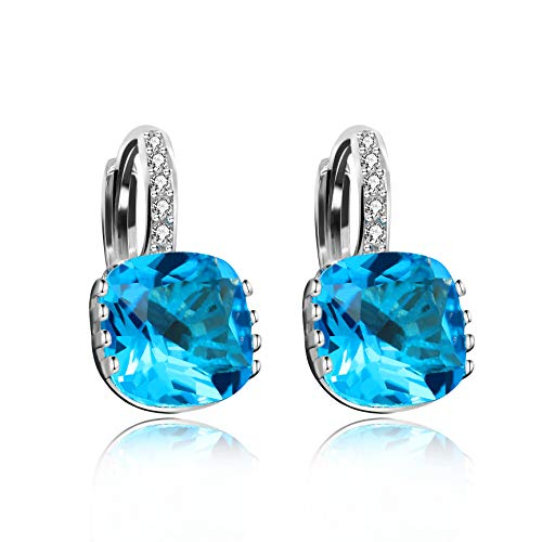 - Uloveido Women's Silver Tone Clear Light Blue CZ Square Bridal Pierced Stud Drop Earrings - Fashion Crystal Bridal Jewelry DML115-Blue