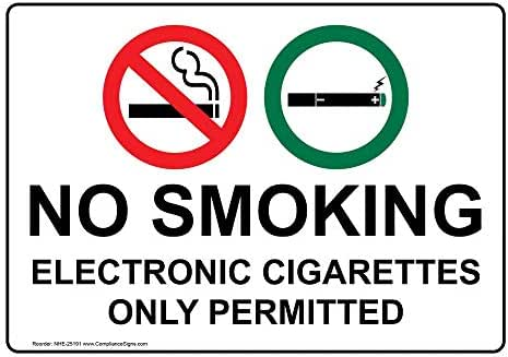 liao ning guang an jian she you xian gong si Outdoor Bright Warning Signs No Smoking Electronic Cigarettes Only Permitted Sign Tin Sign 8x12 Inches