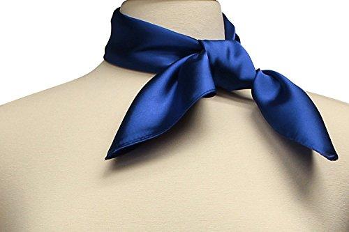 Ll Womens Trendy Royal Blue Silky Satin Neckerchief Square Scarf Vintage1950s