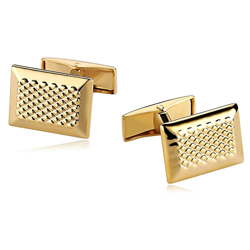 r Men Suitable for Wedding Anniversary Stainless Steel Lattice Square Cuff Links Gold ()