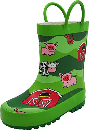 NORTY - Toddler Girls Farm Animals Print Waterproof Rainboot, Lime 40929-9MUSToddler (Best Farm Rubber Boots)