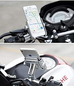 Guidon Argent Support Smartphone T/él/éphone pour Moto V/élo Bicyclette Installation sur Le Guidon en Aluminium 360 /° R/églable pour Motocycle Portable Navigateur GPS Universal