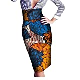 Abetteric Women's Batik Floral Hijab Africa OL Highwaist Sexy Bodycon Skirt 9 5XL