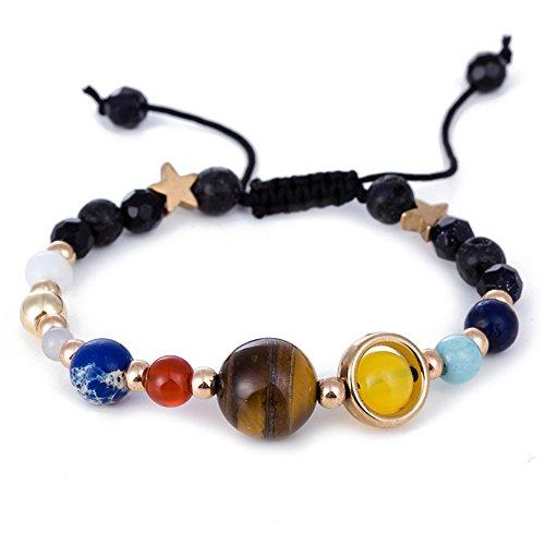 Crytsals Star - LJZspangle Handmade Galaxy Solar System Bracelet Universe Nine Planets Star Natural Stone Beads Bracelets
