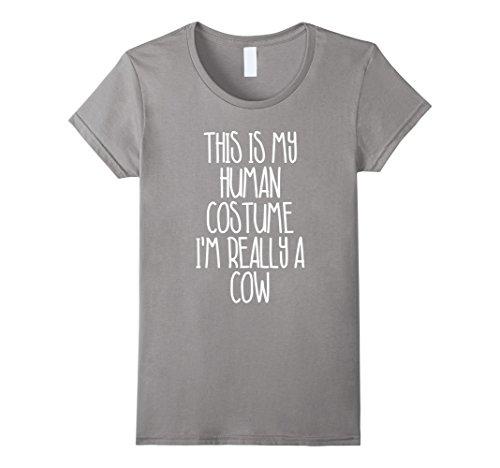 Cute Cow Costumes (Womens Cute Simple Cow Halloween Costume Shirt for Girls Boys Men Medium Slate)