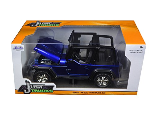 Metallic Blue Car Diecast (1992 Jeep Wrangler Metallic Blue 1/24 by Jada 98082)