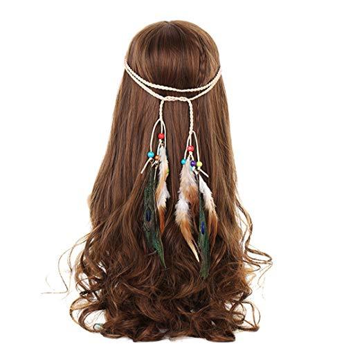 Headbands For Women Indian Feathers Headband Fashion Boho Girls Festival Beads Gypsy Feather Hair Accessories DB06120